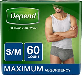 Depend FIT-FLEX Incontinence Underwear for Men, Maximum Absorbency, S/M, Gray, 60 Count