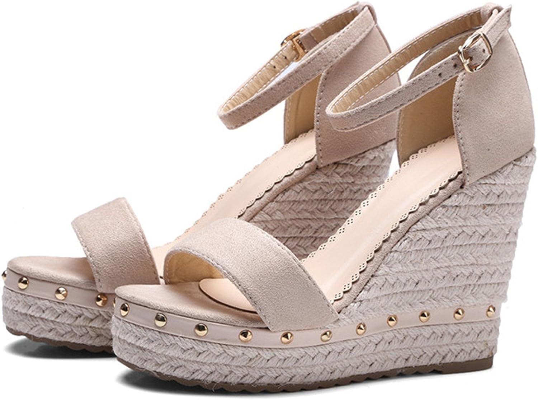Sandals Summer 2018 Platform Sandals High Heels shoes Ankle Strap Ladies Sandals Rivet Casual Footwear Pink Black