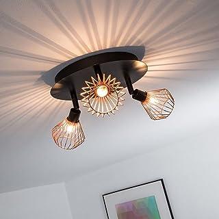FRIDEKO - Lámpara de techo de cobre con 3 luces, estilo retro Ecopower, montaje semi empotrado, lámpara colgante rústica, lámpara de techo colgante, base de bombilla G9, acabado en oro rosa y negro