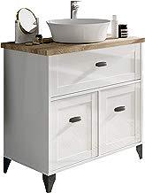 Pitarch Mueble baño Vintage Cottage Color Blanco y Cambrian con Lavabo encimera cerámico 82x47 Sin Espejo