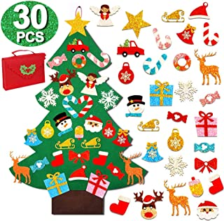 OurWarm 3ft DIY Felt Christmas Tree with 30pcs Glitter Ornaments for Kids, Wall Hanging Xmas Gifts for Christmas Decorations