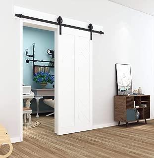 DIYHD TSQ15 5.5FT Industrial Wheel Sliding Barn Wood Interior Closet Kitchen Door Hardware (67inch Track), Single kit, Black
