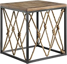 Crestview Collection CVFZR4084 Bar Harbor Rustic Wood and Metal Rope End Table Furniture