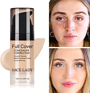 Pro Full Cover Liquid Concealer, Waterproof Smooth Matte Flawless Finish Creamy Concealer Foundation for Eye Dark Circles Spot Face Concealer Makeup, Size:6ml/0.20Fl Oz (02.Warm Ivory 12ml)