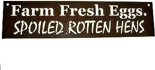 Farm Fresh Eggs. Spoiled Rotten Hens. Metal Chicken Coop Sign