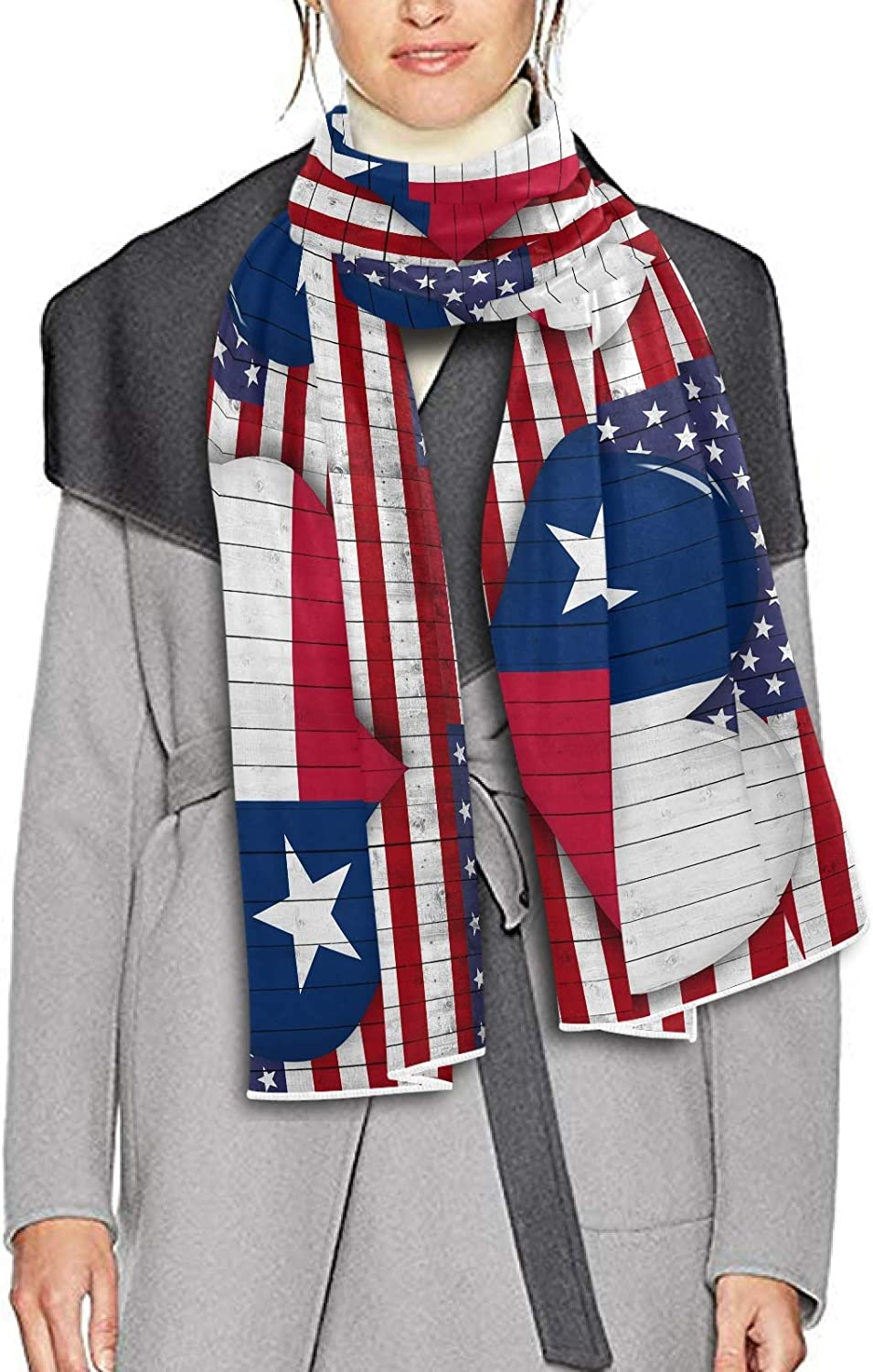 Scarf for Women and Men America Texas Flag Heart Shape Shawl Wraps Blanket Scarf Warm soft Winter Oversized Scarves Lightweight