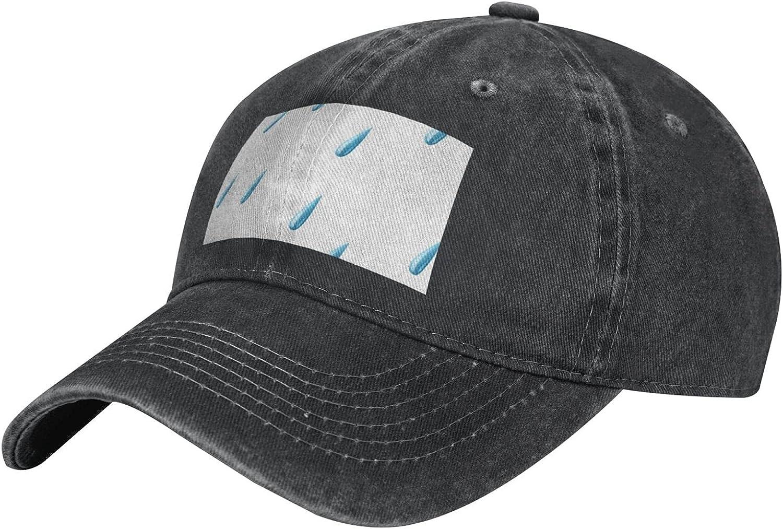 Rain Drops Adult Casual Cowboy HAT, Mens Adjustable Baseball Cap, Hats for MENRain Drops Black