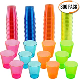 300 Hard Plastic Neon Shot Glasses, 30ml(1oz) - Reusable, Strong Polystyrene Disposable Shot Cups - Glow in the Dark - Perfect for Parties, Christmas, New Year Celebrations.