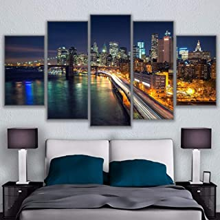 Yyjyxd Canvas Art Print Painting Poster Wall Modular Framework Picture 5 Panel Los Angeles Night View for Home Decoration Kids Room-16X24/32/40Inch,Without Frame