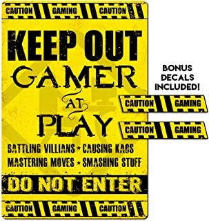 IT'S A SKIN Gamer, Video Game Player Keep Out Metal Sign for Bedroom, Doors, Man cave! with 2 Stickers Added
