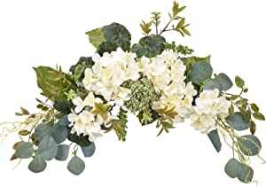 I-GURU Artificial Swag Hydrangea Flower 28 Inch, White Spring Decorative Swags with Green Leaves for Home Room Front Door Wedding Arch Garden Party Tabletop Wall Decor