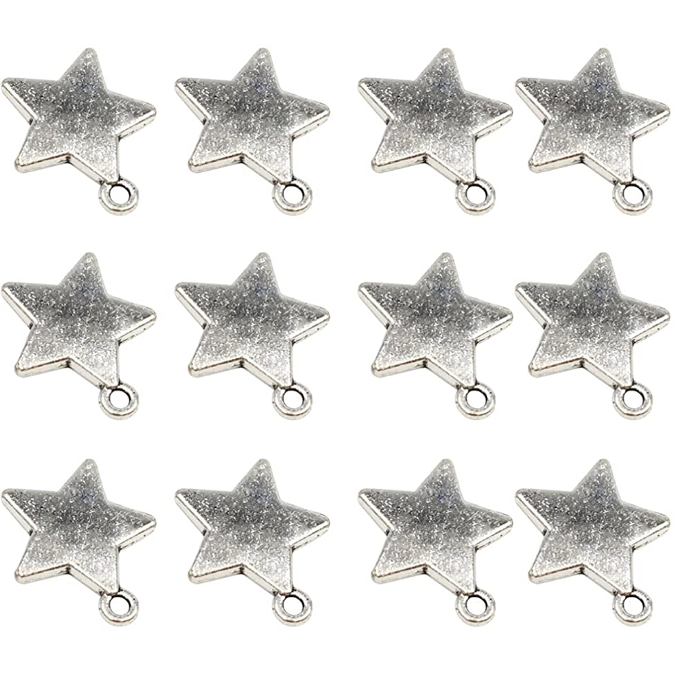 YYaaloa 50pcs 19mm x16mm Stars DIY Charms Pendant for Crafting Jewelry Making Accessory (50pcs A1278 Star Silver)