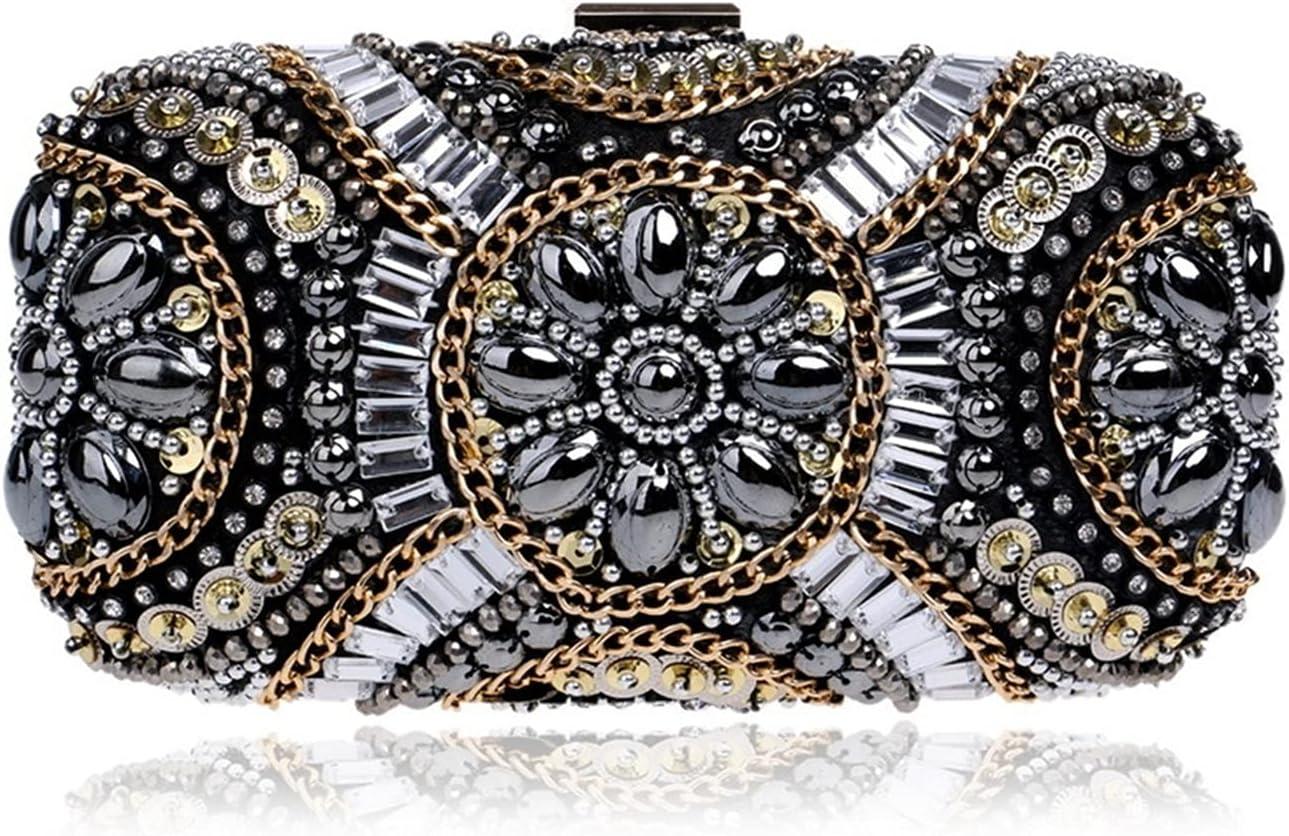 WSNDY Evening Bag Retro Party Clutch Bag Embroidery Purse Diamonds Beaded Evening Bag Small Crystal Wedding Handbags (Color : Black, Size : Small)