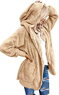 ZEGOLO Womens Casual Warm Faux Fuzzy Fashion Long Cardigan Fall Outerwear Coat