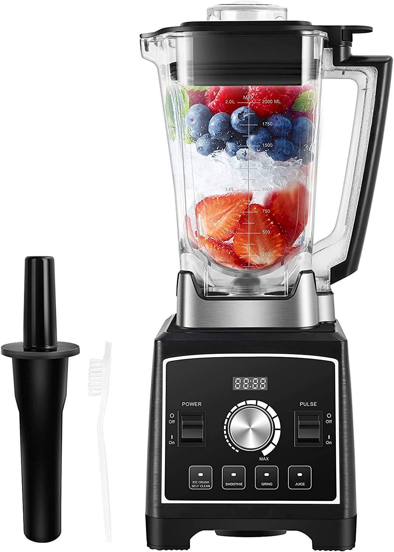 Batidora Smoothie 2000W, Licuadora para verduras y frutas 2L, Licuadora Profesional Incluye 4 Programas Preestablecidos, 8 Velocidades Ajustables, Recibo, Cepillo de Limpieza