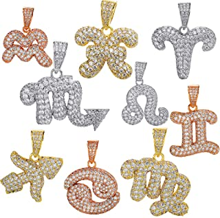 Harlembling Real Solid 925 Sterling Silver Zodiac Sign Pendant - for Men Or Women - Iced Necklace