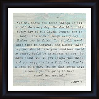 Jimmy V Quote - Three Things Framed Fine Art Print with Black Round Front Frame and Clear Styrene Image Cover, Finished Size 23.5 inches X 23.5 inches