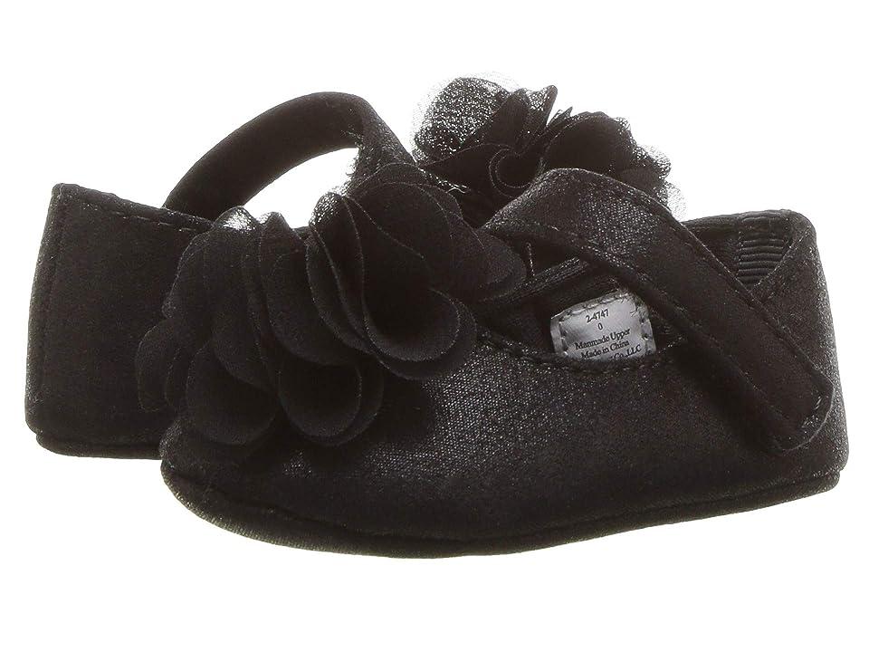 Baby Deer Soft Sole Shimmer Mary Jane with Flower (Infant) (Black) Girl