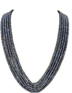 Runjhun Jewellery 5-Layered Blue Topaz Semi Precious Onex Gemstones Traditional Designer Necklace Handicrafted in India for Women Girls