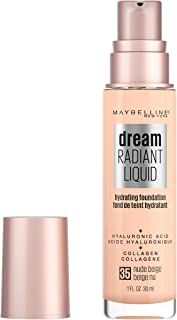 Maybelline Dream Radiant Liquid Medium Coverage Hydrating Makeup, Lightweight Liquid Foundation, Nude Beige, 1 Fl; Oz