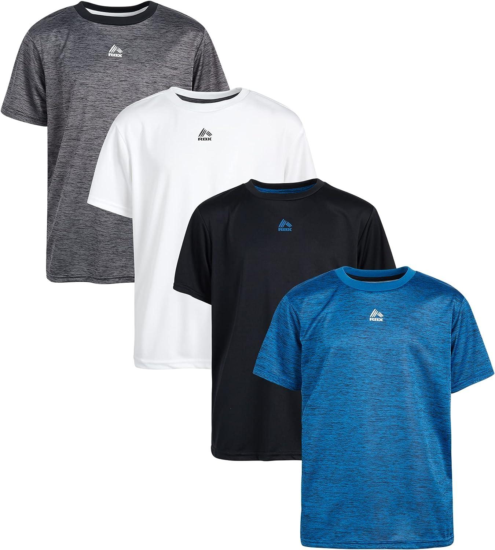 RBX Boys' Active T-Shirts – 4 Pack Athletic Performance Short Sleeve Sports Tees (Big Boy)