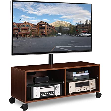 Rolling Wood Entertainment Center Corner TV Console Stand for up to 65 inch