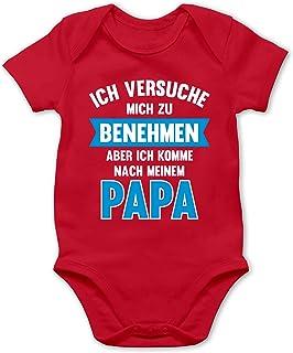 Shirtracer Sprüche Baby - Ich versuche Mich zu benehmen Aber ich komme nach Meinem Papa - Baby Body Kurzarm für Jungen und Mädchen