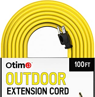 Otimo 100 ft 14/3 Outdoor Heavy Duty Extension Cord - 3 Prong Extension Cord, Yellow