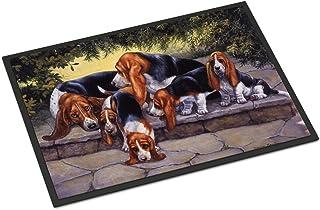 "Caroline's Treasures BDBA0276MAT Basset Hound Puppies, Momma and Daddy Indoor or Outdoor Mat, 18"" x 27"", Multicolor"