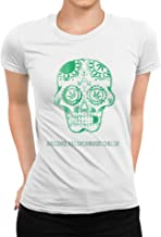 TeezoneDesign DamesT-shirt Groen Schedel Cannabis ...