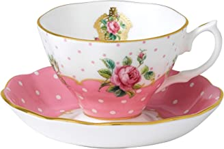 Royal Albert CHEPNK26581 New Country Roses Vintage Teacup and Saucer, White
