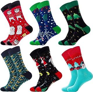 AOFOX, AOFOX 6 pares de calcetines de vestir divertidos para hombres Patrones estampados coloridos, originales, elegantes y elegantes Calcetines casuales divertidos para el invierno de Navidad en casa
