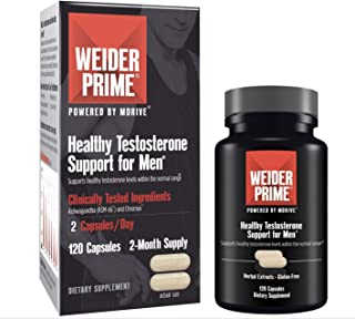 Weider Prime Testosterone Support for Men, Supports Strength, Focus, Stress, Lean Muscle - 120 Capsules