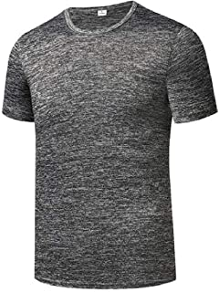 Macondoo Men's Stretch Crew Neck Skinny Top Sports Short Sleeve Breathable T-Shirts