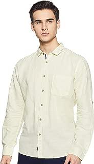 CHEROKEE Men's Solid Regular fit Casual Shirt (400020220240_Yellow M)