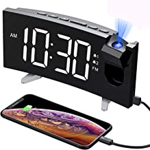 PICTEK Projection Digital Clock Radio for Bedrooms Ceiling with USB Phone Charger, 5'' Large Curved LED Display, 6 Dimmer, Dual Alarms with 4 Sounds, Snooze, 1.white