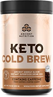 Ancient Nutrition KetoCOLDBREW Energy Elixir Powder, 20 Servings, Keto Diet Supplement, MCTs from Coconut, Coffee Beans, E...