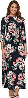Clarisbelle Women's Casual Floral Printed Long Maxi Dress with Pockets(M-2XL)