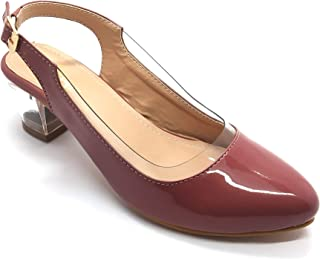 MEOTEENA Transparent Block Heel Belly Stylish Pumps for Girls and Women