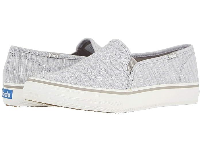 Keds  Double Decker Chambray Stripe Linen (Light Gray) Womens Shoes