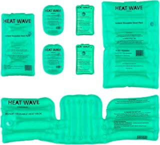 HEAT WAVE Instant Reusable Heat Packs & Hand Warmers - 2 Original & 2 Large XT Hand Warmers, 1 Medium, 1 Large, and 1 Neck/Shoulder/Back - Made in USA