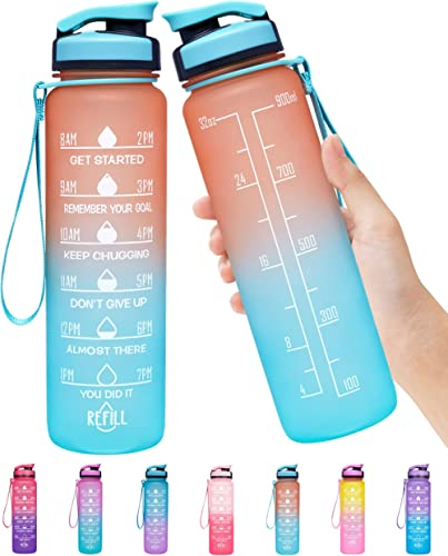 Elvira 32oz Large Water Bottle with Motivational Time Marker & Removable Strainer,Fast Flow BPA Free Non-Toxic for Fi...
