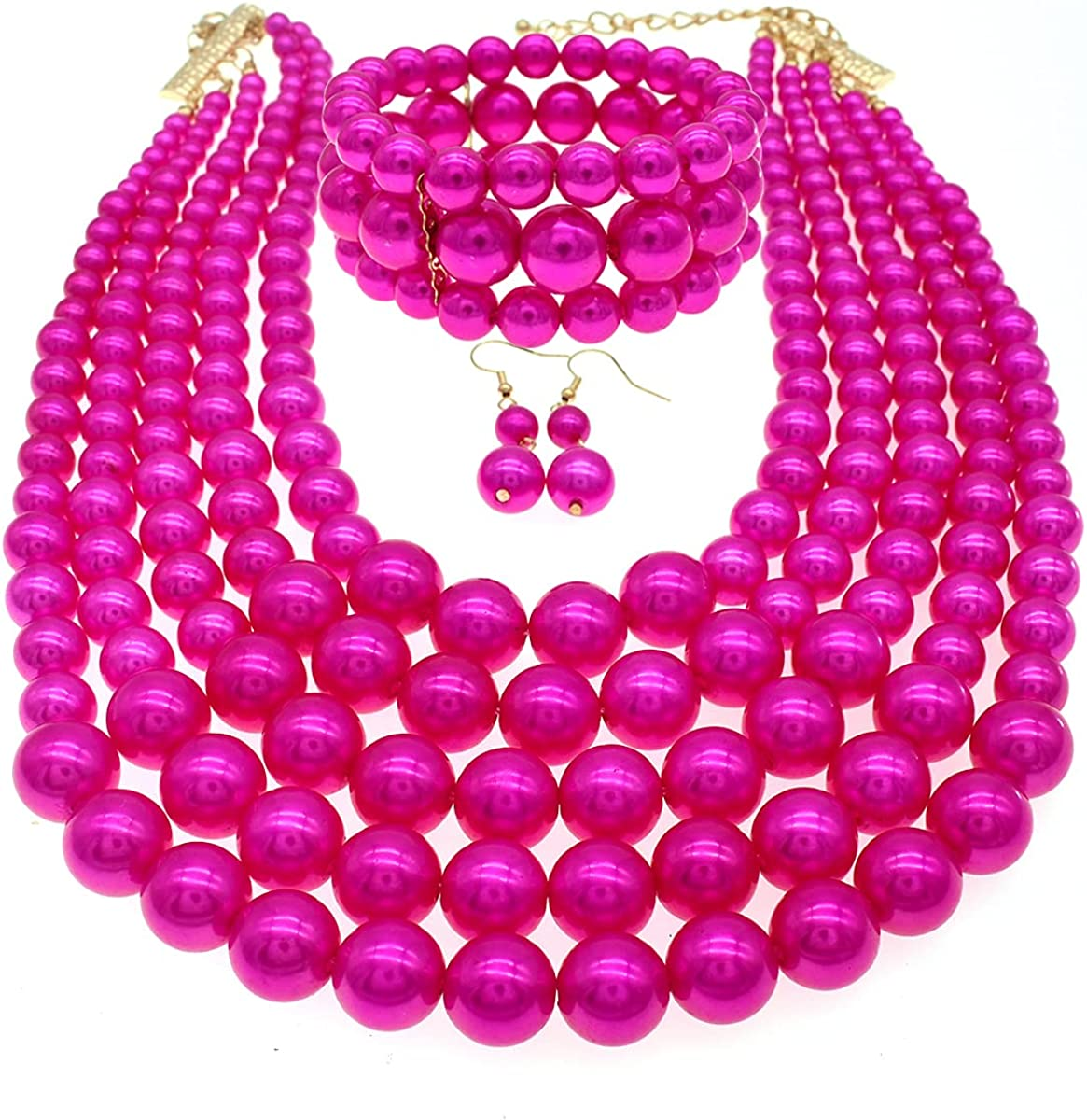 JNF Multi Layer Pearl Strand Costume Jewelry Sets Pearl Statement Necklace Bracelet and Earrings for Women