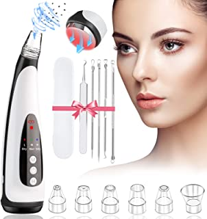 LIDOFIGO Blackhead Remover Pore Vacuum, Electric Facial Pore Cleaner with Hot Compress-USB Rechargeable Acne Comedone Whit...