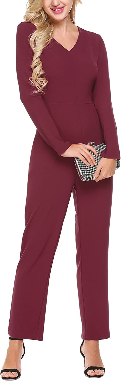 BURLADY Women's Casual VNeck Long Sleeve Wide Leg Pocket Sexy Jumpsuit Rompers