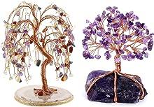 Jovivi Bundle - 2 Items 7 Chakra Reiki Healing Crystals Money Tree Bonsai Ornament + Amethyst Crystal Tree Bonsai Money Tree Ornament for Home Desk Indoor Decorations