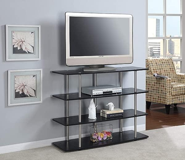 MHD Home Black Wooden TV Stand Large 4 Shelves Media Storage Unit Living Room Bedroom Furniture Television Holder