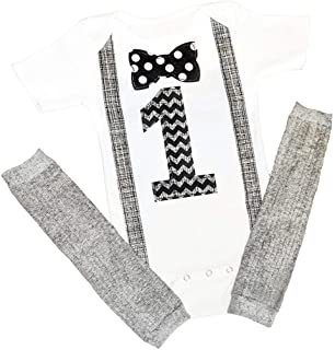 1st Baby Boys First Birthday Onesie Classy Outfit Set Bow Tie Shirt Black White