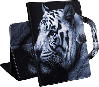A-BEAUTY Case for Amazon Fire HD 8 2015/2016/2017/2018 Kids Leather Travel Portable Wallet with Handle [Free Screen Protector + Cleaning Cloth], Bengal White Tiger