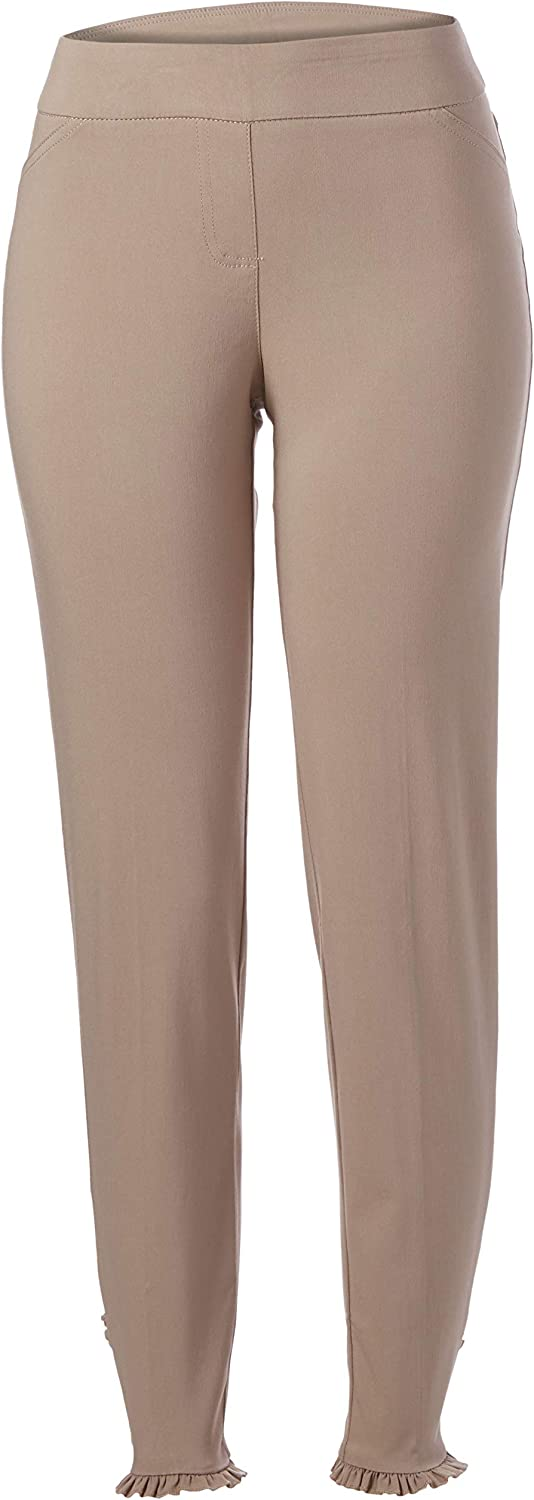 SLIM-SATION Women's Wide Band Pull-on Solid Ankle Pant with Ruffle Hem
